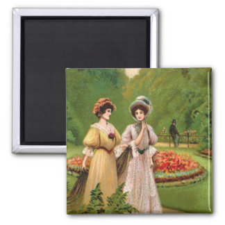 Two Vintage Women Valentine Card Refrigerator Magnets