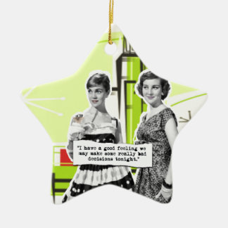 Two Vintage Women with Modern Day Intentions Ceramic Ornament