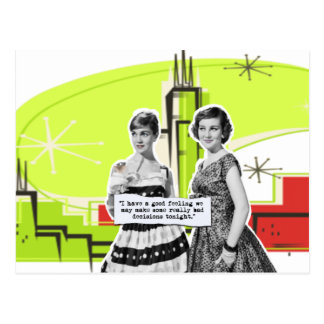 Two Vintage Women with Modern Day Intentions Postcard
