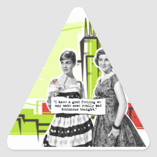 Two Vintage Women with Modern Day Intentions Triangle Sticker