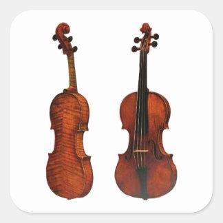 Two Violins Illustration Square Sticker