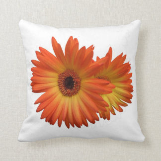 Two Vivid Orange and Yellow Gerbera Daisies Throw Pillow