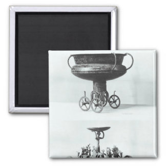 Two votive chariots for collecting rainwater 2 inch square magnet