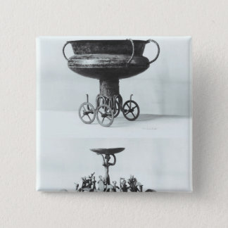 Two votive chariots for collecting rainwater pinback button