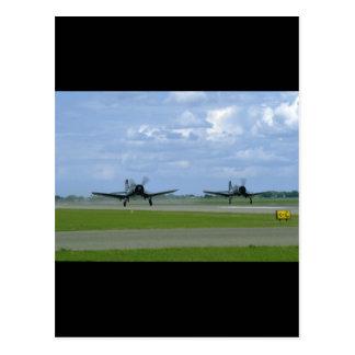 Two Vought F4U Corsairs, Landing_WWII Planes Postcard