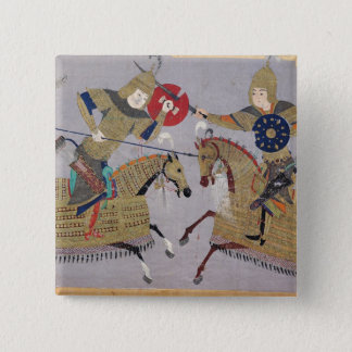 Two warriors on horseback in combat button