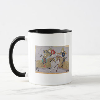 Two warriors on horseback in combat mug