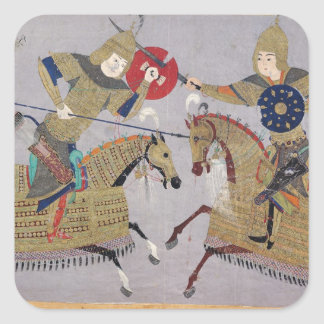 Two warriors on horseback in combat square sticker