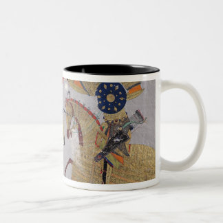 Two warriors on horseback in combat Two-Tone coffee mug