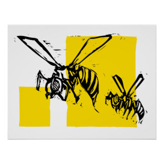 Two wasps poster