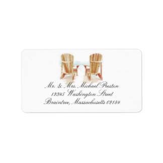 Two Watercolor Adirondack Beach Chairs Label