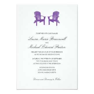 Two Watercolor Adirondack Chairs Wedding Card