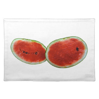 two watermelons graphic fruit photo cloth placemat