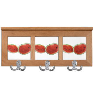 two watermelons graphic fruit photo coat rack