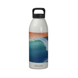 Two waves orange sky reusable water bottle