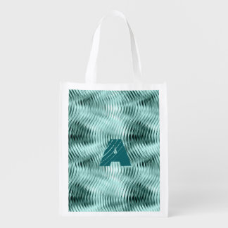 Two Wavy Teal Patterns, Customizable Initial Grocery Bag