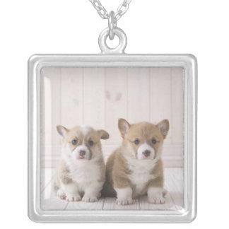 Two Welsh Corgi Sitting Silver Plated Necklace