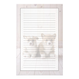 Two Welsh Corgi Sitting Stationery