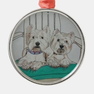 Two Westie Pals Metal Ornament
