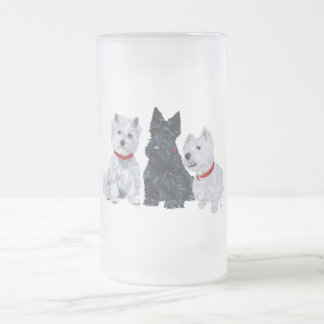 Two Westies and a Scottie Frosted Glass Beer Mug