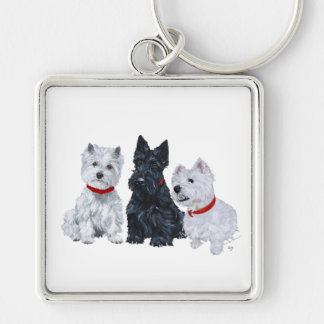 Two Westies and a Scottie Keychain