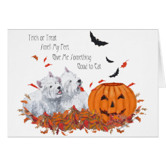 Two Westies at Halloween Greeting Card