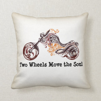 Two Wheels Move the Soul Motorcycle Throw Pillows