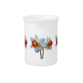 Two White And Orange Daffodils Beverage Pitcher