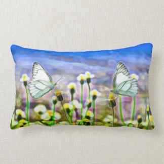 Two White Butterflies in a Yellow Flower Meadow Lumbar Pillow