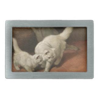 Two white cats rectangular belt buckle