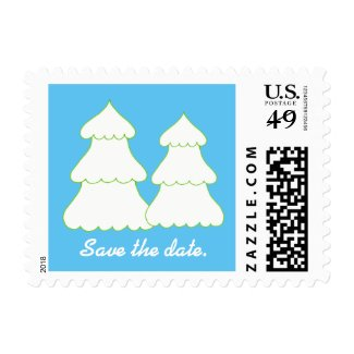 Two White Christmas Trees Blue Save the date Stamp