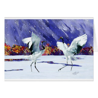 Two White Cranes Dancing in Winter Card