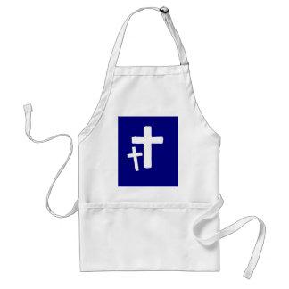 Two White Cross Symbols On Blue Adult Apron
