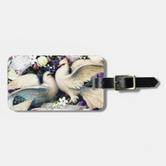 Two White Doves Birds Flowers Vintage Bag Tag