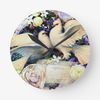 Two White Doves Birds Flowers Vintage Round Wall Clocks