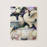 Two White Doves Birds Flowers Vintage Puzzle