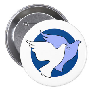 Two white doves for peace pinback button