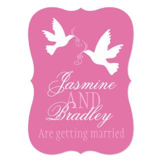 Two White Doves Pink Ribbon Wedding Invite