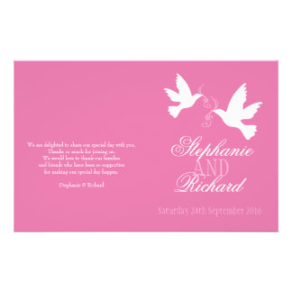 "Two white doves pink ribbon Wedding Programme 5.5"" X 8.5"" Flyer"