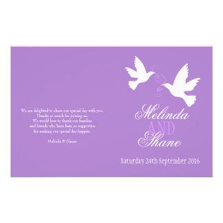 Two white doves purple ribbon wedding programme flyer