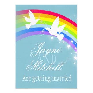 Two white doves rainbow wedding blue grey invite