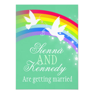 Two white doves rainbow wedding green color invite