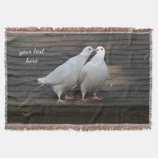 Two white doves throw blanket