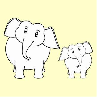 Two White Elephants on Cream. Cartoon. Statuette