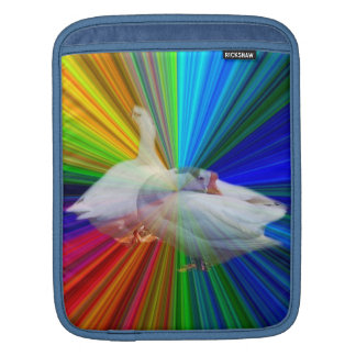 two white geese in very fancy  background sleeves for iPads