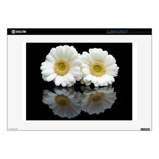 "Two white gerberas with mirror image on black 15"" laptop decal"