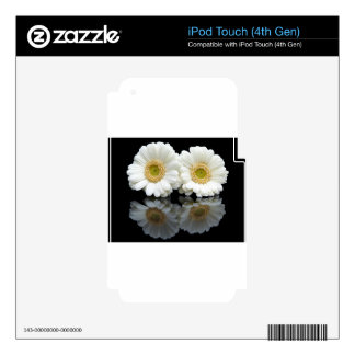 Two white gerberas with mirror image on black decals for iPod touch 4G