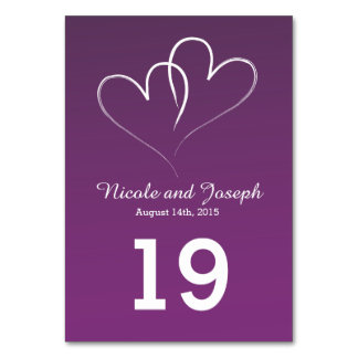 Two White Hearts intertwined - bishop purple Card