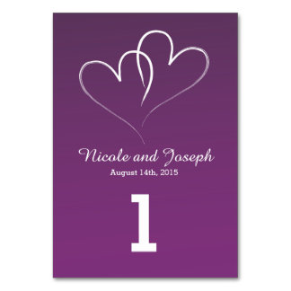 Two White Hearts intertwined Table Number - purple Card