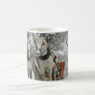 Two White Horse Chariot Snow Forest Coffee Mug
